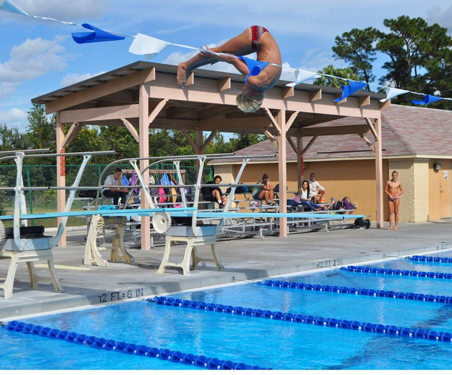 Morgan Thorla demonstrates his dive for competition.