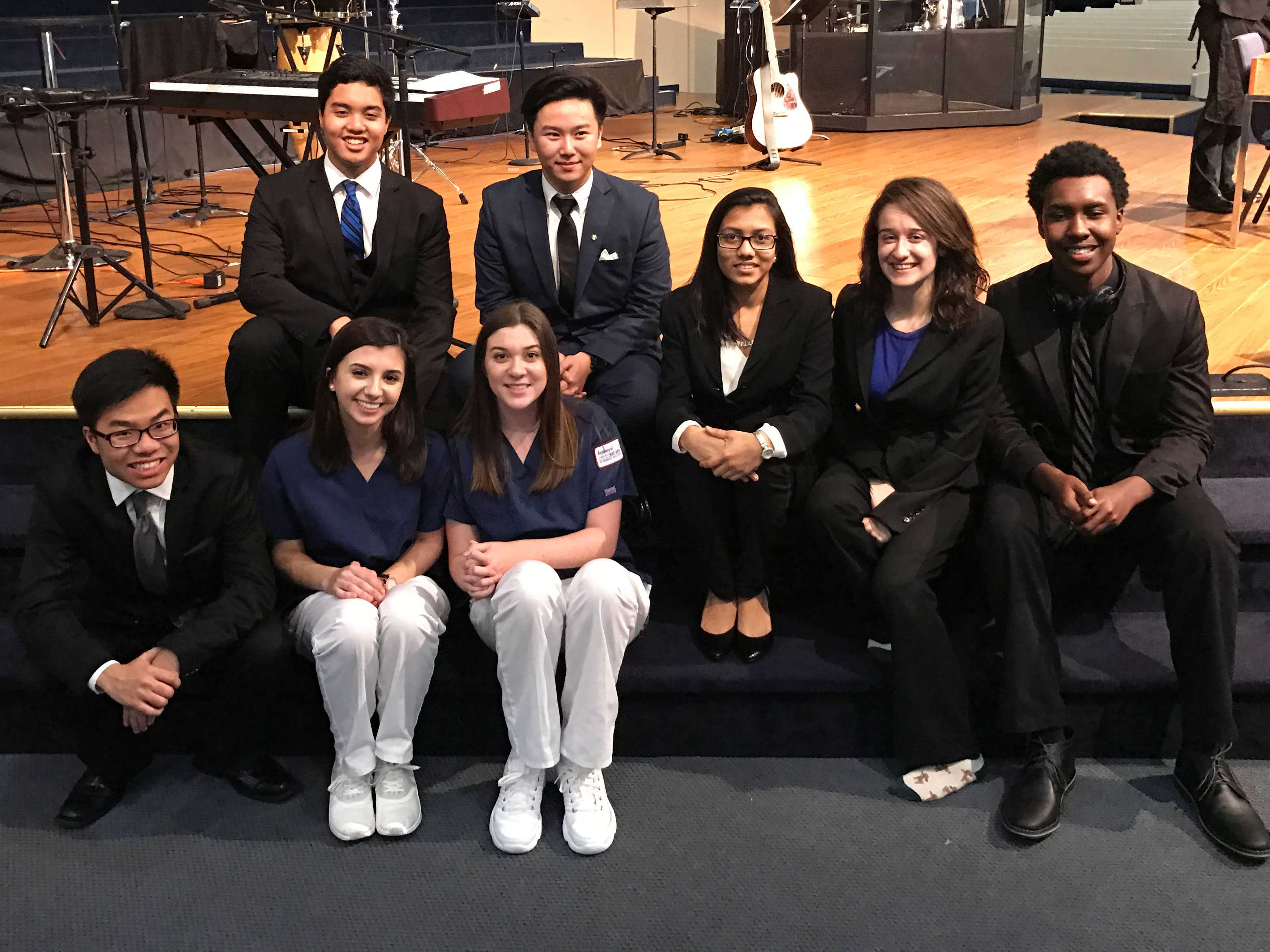 A group of HOSA competitors pose together before the closing ceremony.