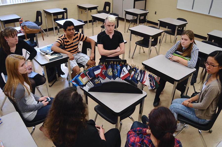 Members of the Model UN club discuss current events occurring worldwide.