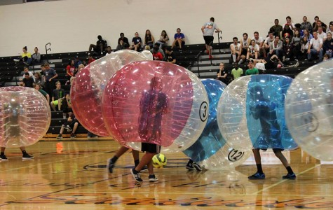 Students competed in the Bubble Soccer Tournament to fundraise Senior Week and the senior gift.