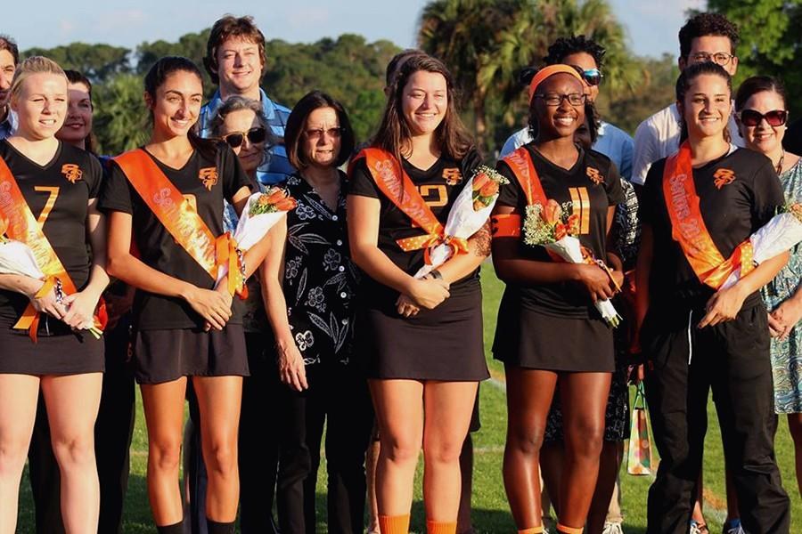 Smiles were shared as the seniors of the SHS girls lacrosse team received their flowers.