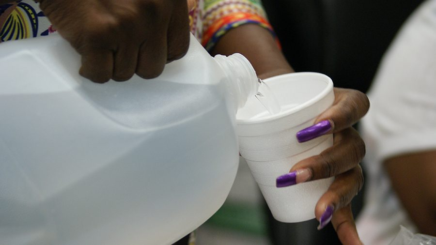 Administration hands out water to student due to unsafe water supply at SHS.