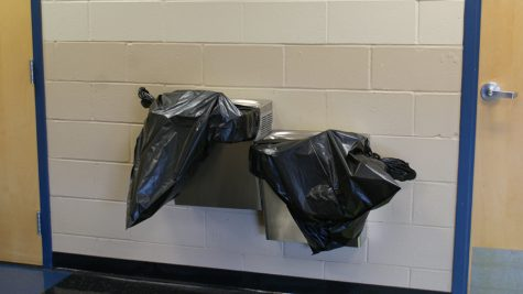 Water fountains were covered with garbage bags to prevent students from drinking contaminated water.