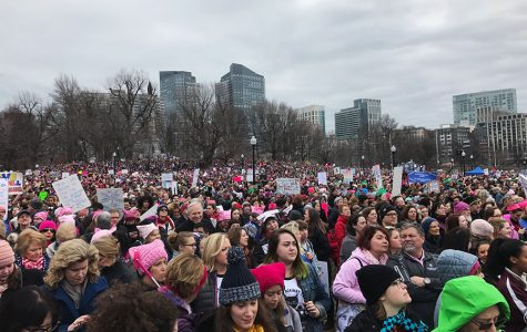 People protest at the women's march.