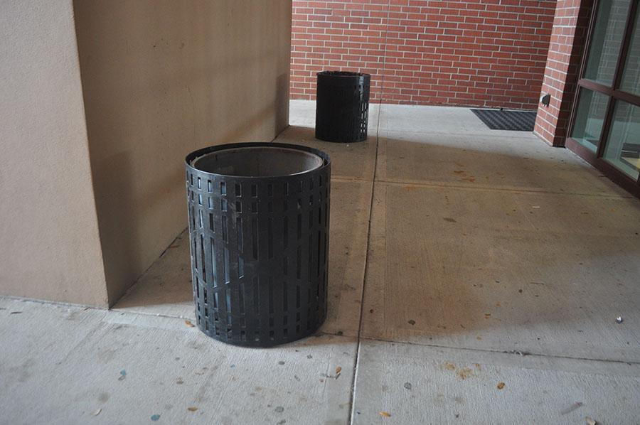 Students cause a disturbance by setting off a firecracker in a trashcan.