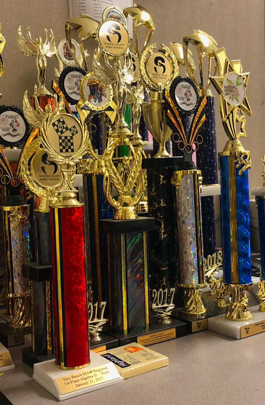Seminole High School has been successful at math competitions, as suggested by the many awards they have won.