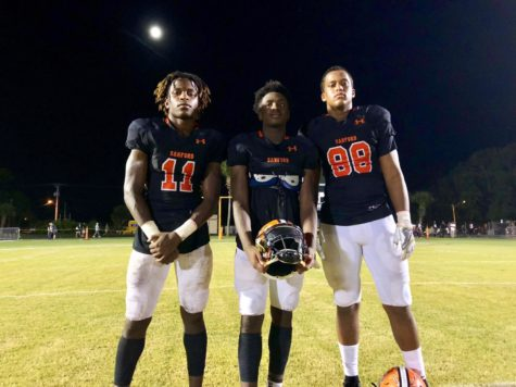 Zion Jackson (left), O'Shae Baker (middle), and Jordan Davis (right) have used their football careers at SHS as a launchpad to college.