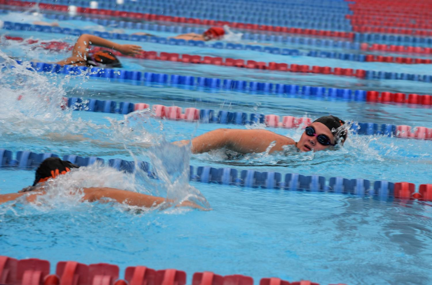 The race for the finish line can be intense for female swimmers as the stakes get higher.