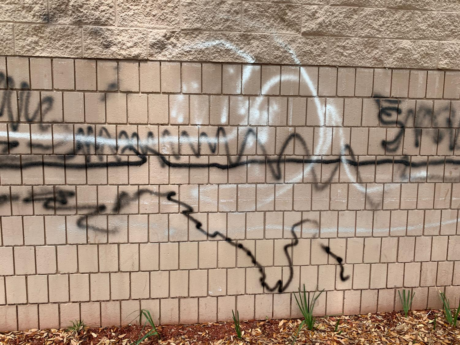 Graffiti covers the side of the Media Center.