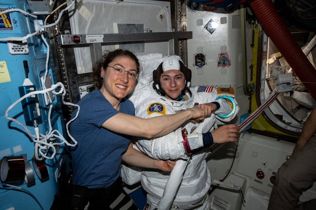 Christina Koch and Jessica Meir prepare for their first All Women Space Walk fro NASA.