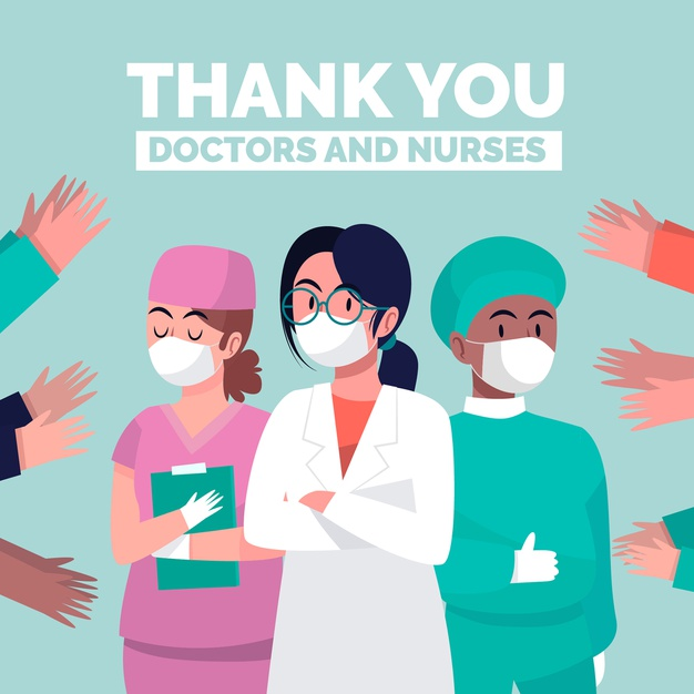 Signs like this throughout the media are apparent, thanking doctors and nurses.
