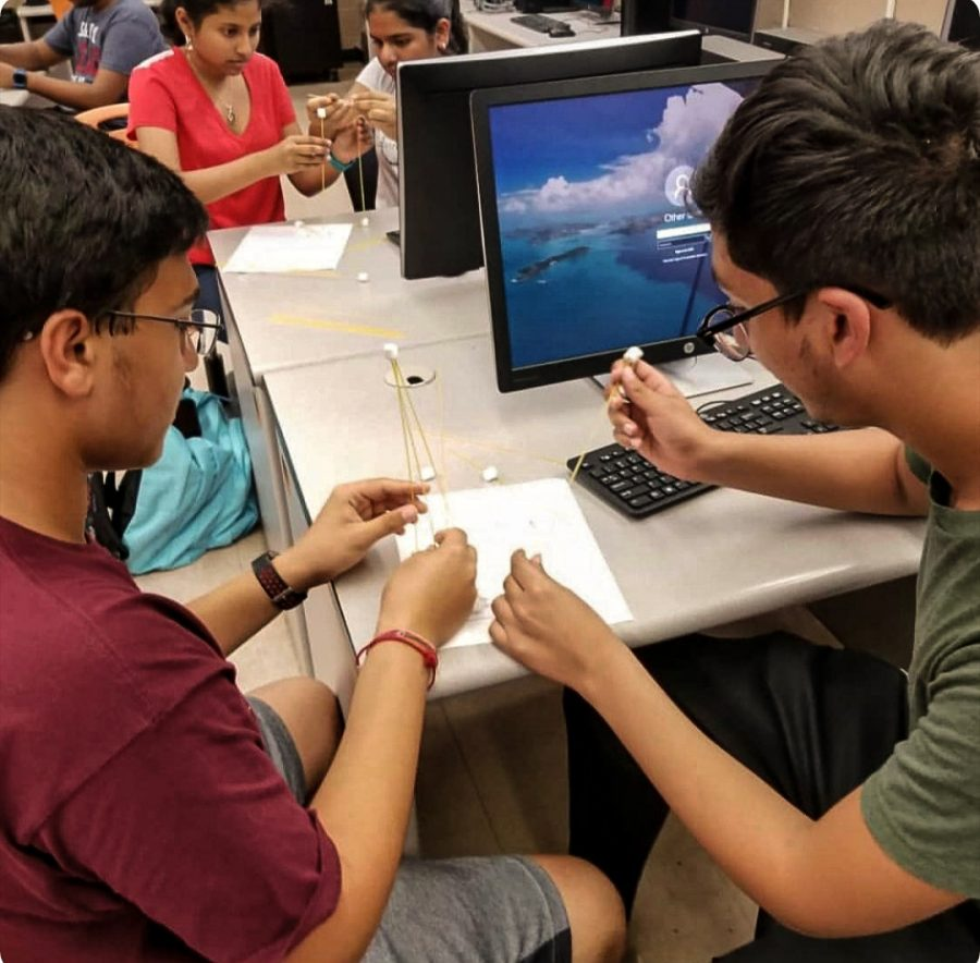 Although most students are staying home, those who choose to come to school have the opportunity to participate face to face for clubs. The Technology Student Association has many students participating in class and online.
