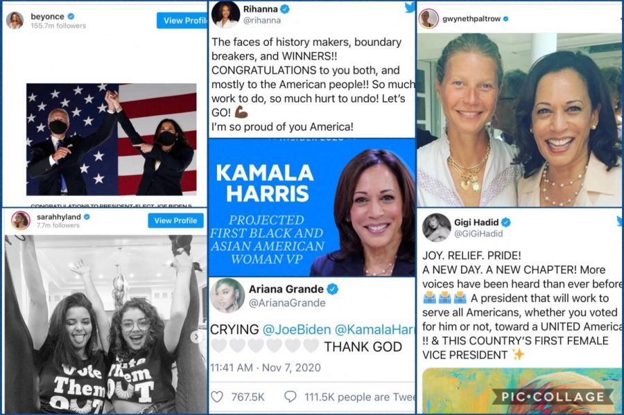 Vice President-elect Kamala Harris receives an overwhelming amount of positive reactions from celebrities and millions of Americans across the country. She sets an example for minorities and breaks several barriers for women in politics.