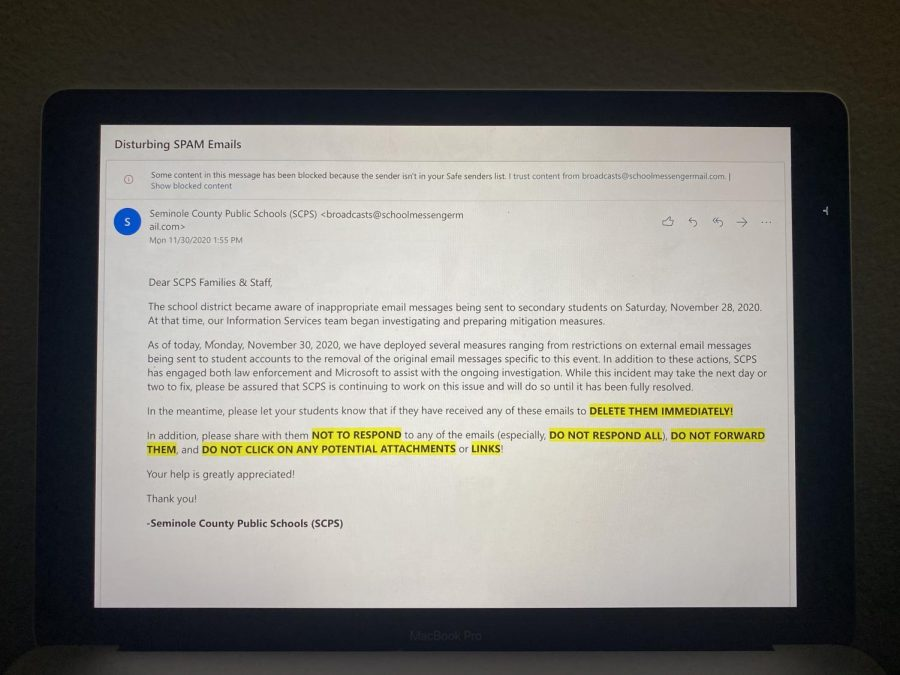 Over Thanksgiving break many students across the county received spam emails, the board did what they could to limit the amount of students to open the emails.