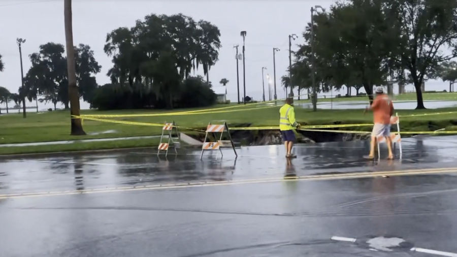 Pictured here is Downtown Sanford during the flash floods.