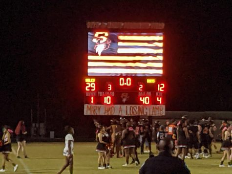 Scoreboard after an amazing homecoming game.